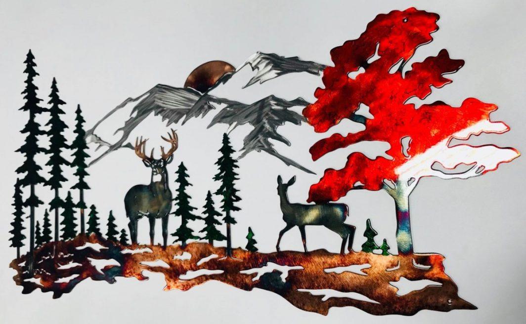 01 Whitetail mountain scene Metal Wall Art Metal Dècor Studios