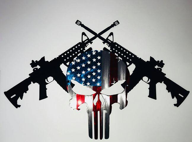 01 AR15 American Punisher Wall Art Metal Dècor Studios