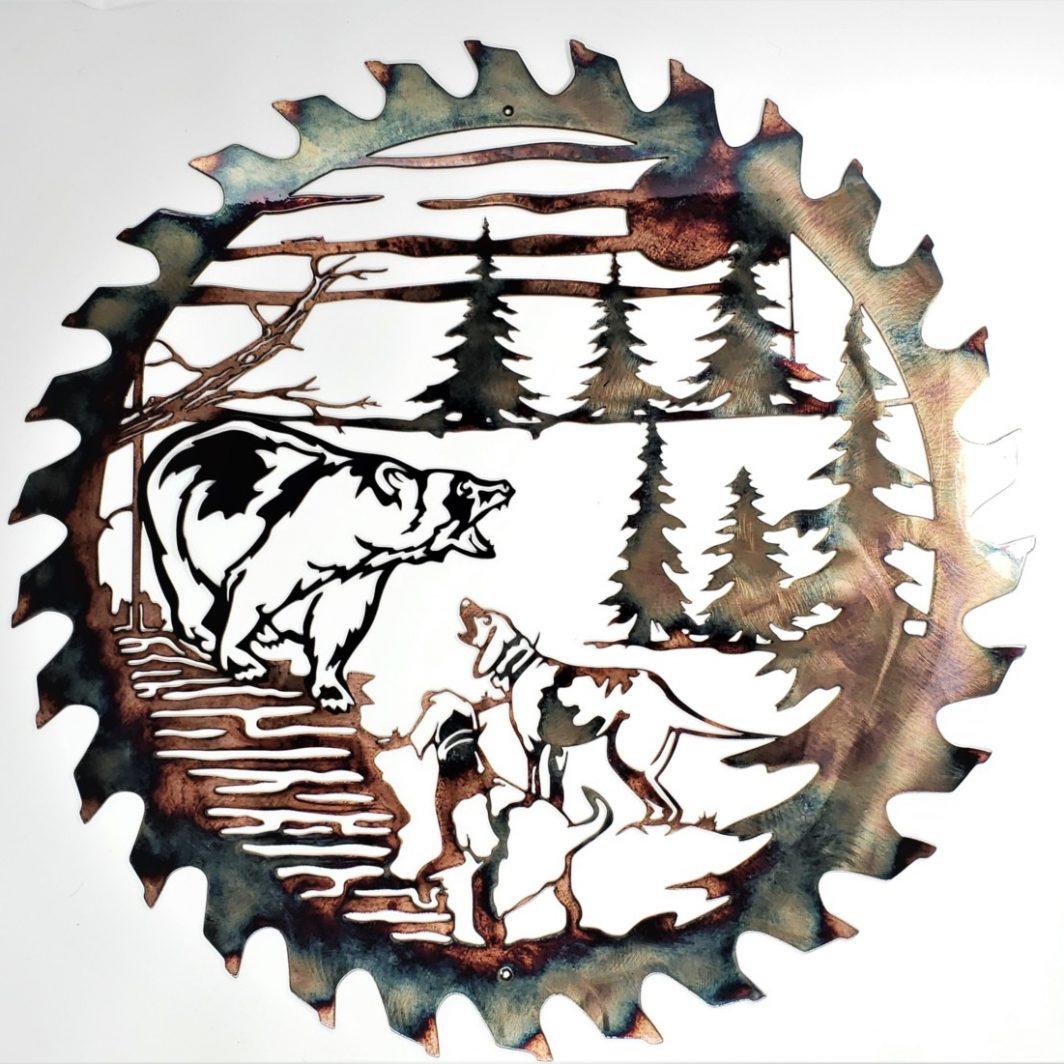 01 Bears Last Stand Sawblade Cutout Metal Wall Art Metal Dècor Studios