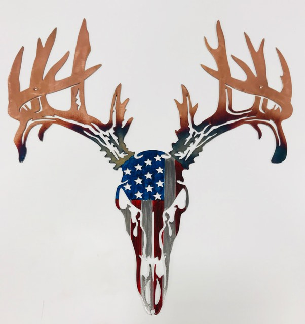 01 Drop Tine American Flag European mount Metal Wall Art Metal Dècor Studios