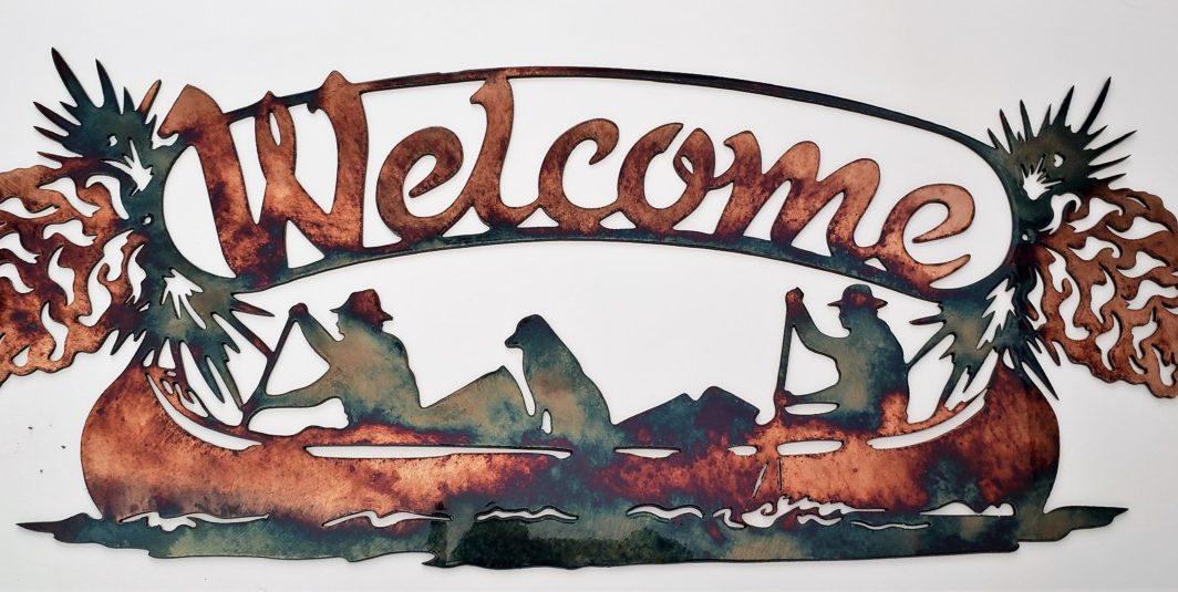 01 Welcome Canoe Wildlife Wall Art Metal Dècor Studios 1 300x259