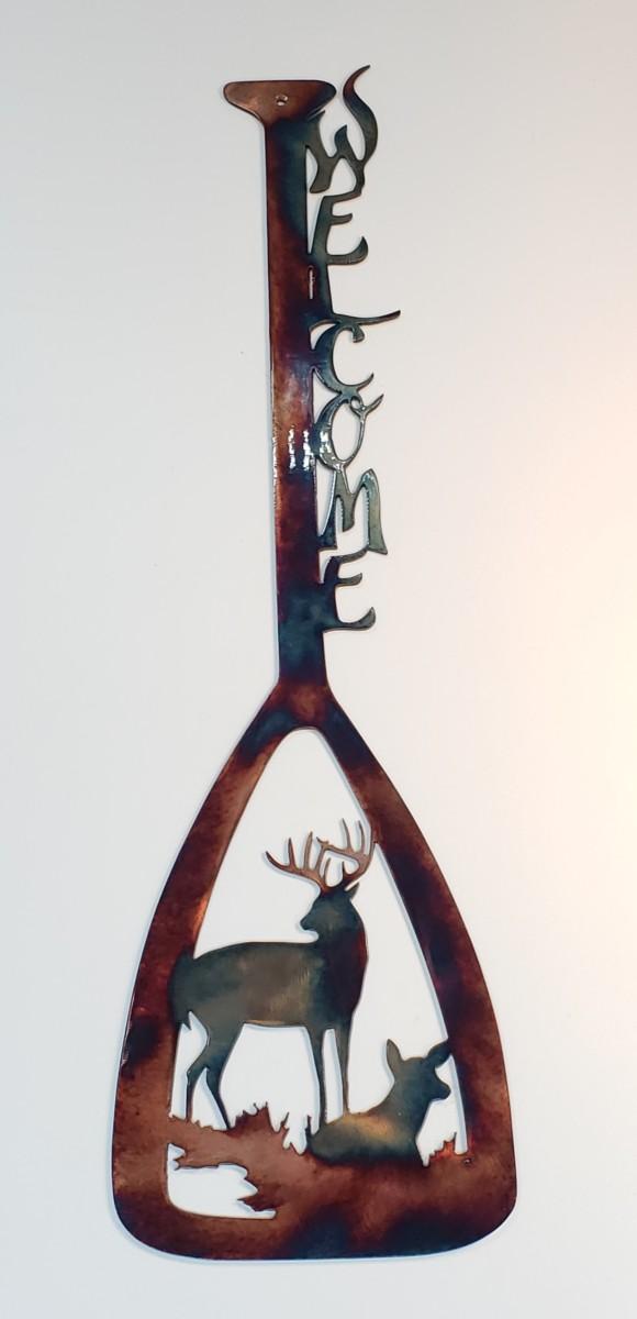 01 canoe paddle alert buck ducks Metal Wall Art Metal Dècor Studios