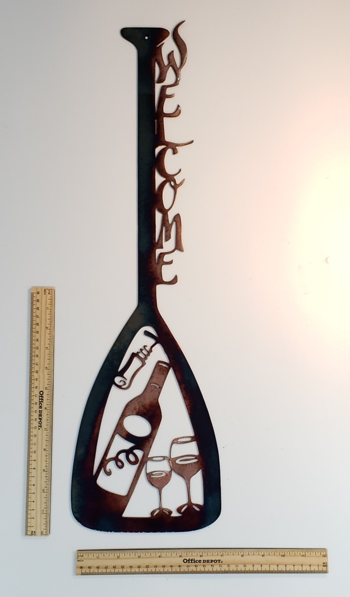 01 canoe paddle wine set Metal Wall Art Metal Dècor Studios