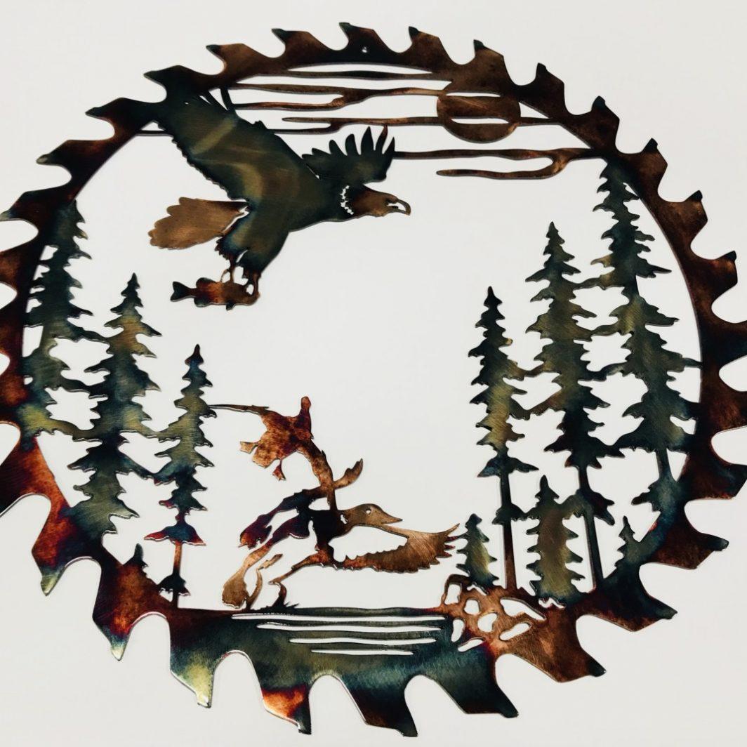 01 fishing eagle sawblade cut out Metal Wall Art Metal Dècor Studios