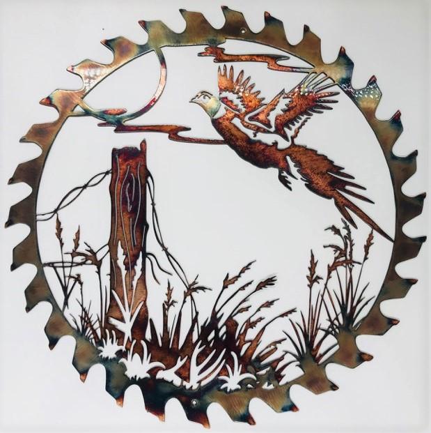 01 flushed pheasant sawblade cut out Metal Wall Art Metal Dècor Studios