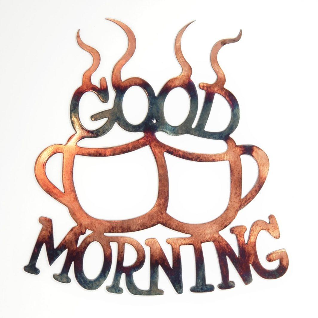 01 good morning coffee Metal Wall Art Metal Dècor Studios