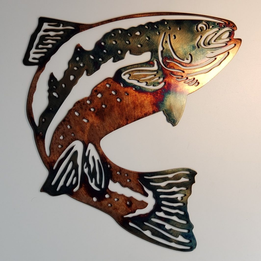 01 jumping trout Metal Wall Art Metal Dècor Studios
