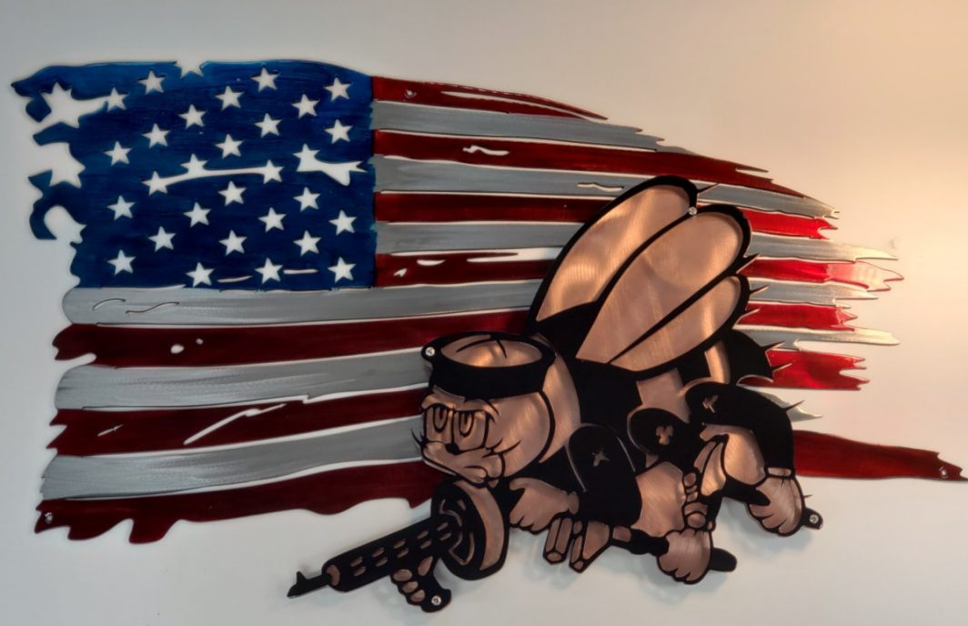 01 tattered flag seabees logo Metal Wall Art Metal Dècor Studios