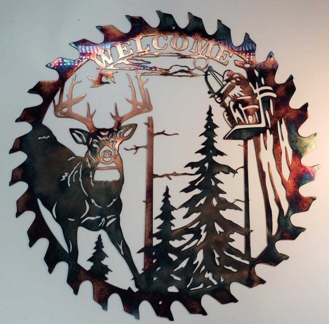 01 whitetail bowhunter sawblade cut out Metal Wall Art Metal Dècor Studios