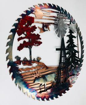 01 windmill sawblade whitetail Metal Wall Art Metal Dècor Studios