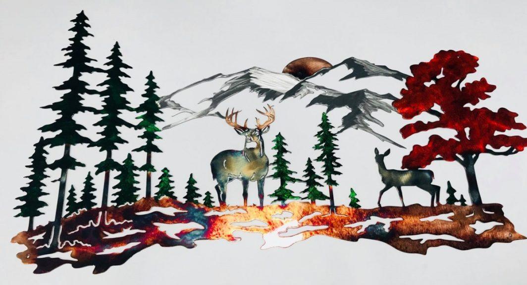 02 Whitetail mountain scene Metal Wall Art Metal Dècor Studios