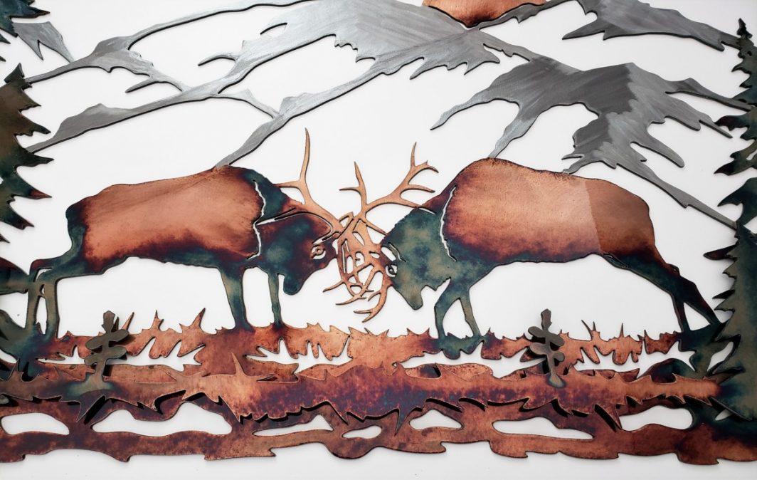 02Majestic Morning Elk Scene Wall ArtRustic Northwoods Men Gift Metal Dècor Studios 1