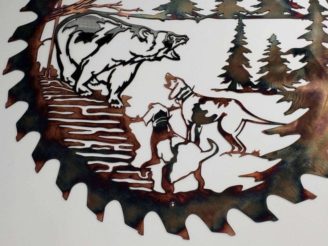 02 Bears Last Stand Sawblade Cutout Metal Wall Art Metal Dècor Studios