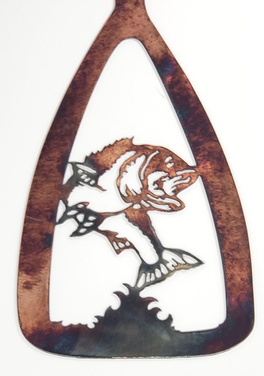 02 Canoe Paddle Jumping Bass Metal Wall Art Metal Dècor Studios
