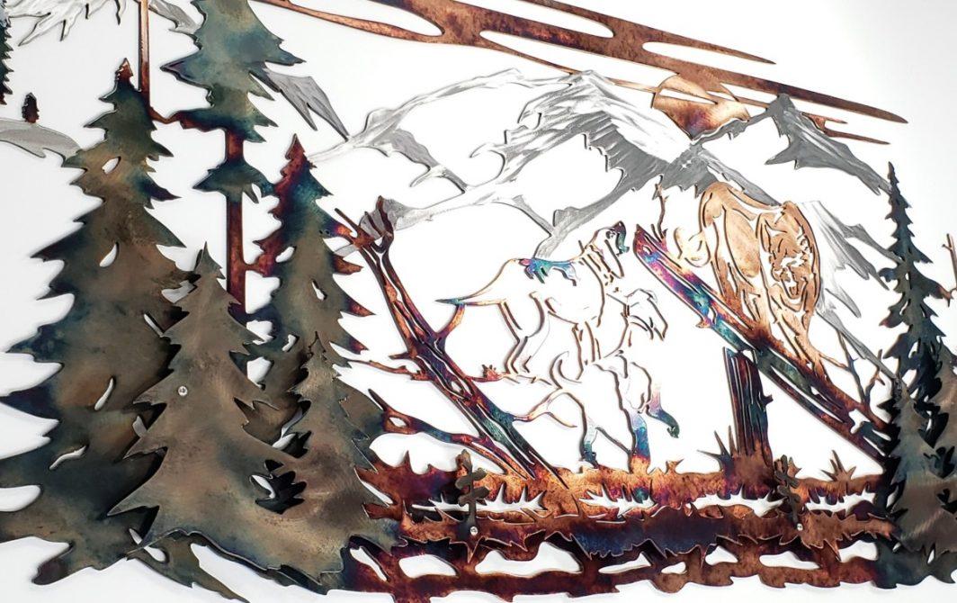 02 Mountain Lion Hunting Dog Wildlife Wall Art Metal Dècor Studios 1 300x259