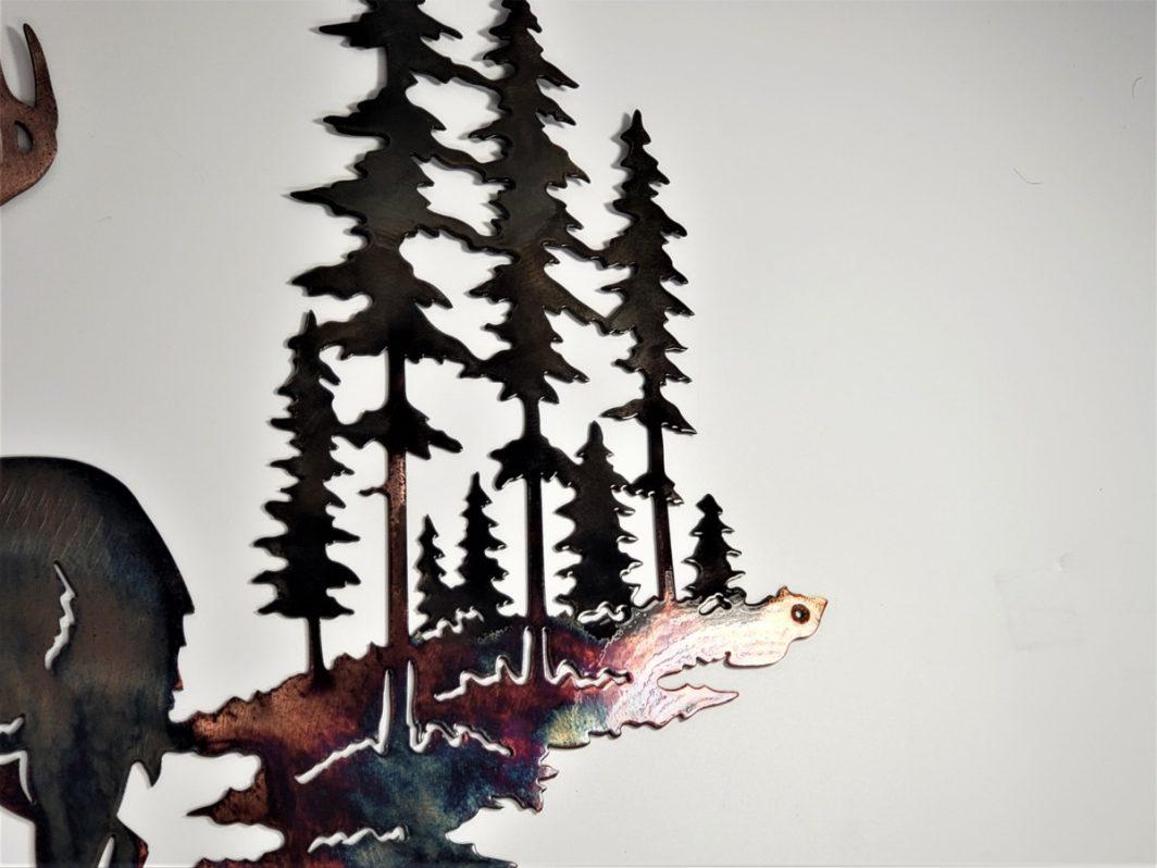 02 Pine Boss Whitetail Deer Metal Wall Art Metal Dècor Studios