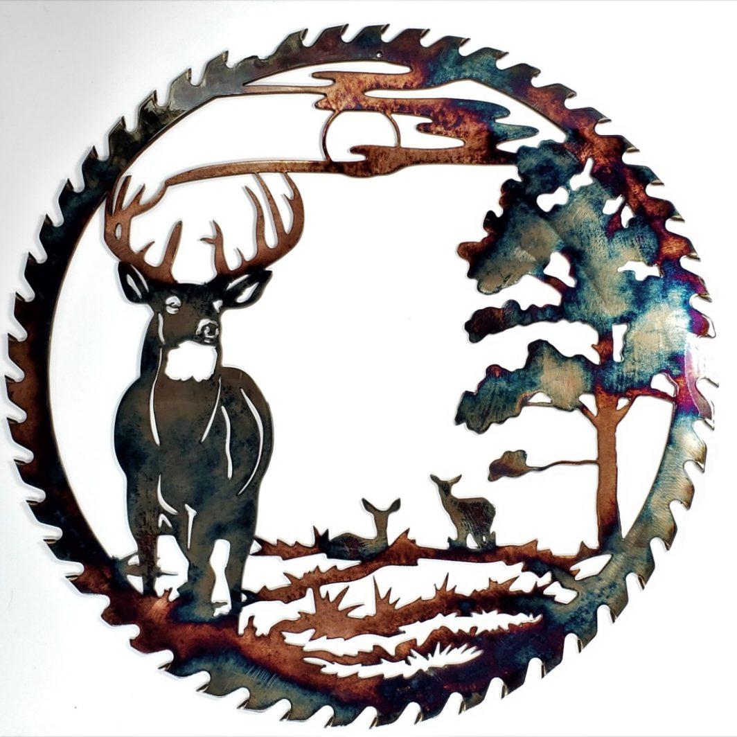 02 Sawblade Whitetail alert at Dusk Metal Wall Art Metal Dècor Studios