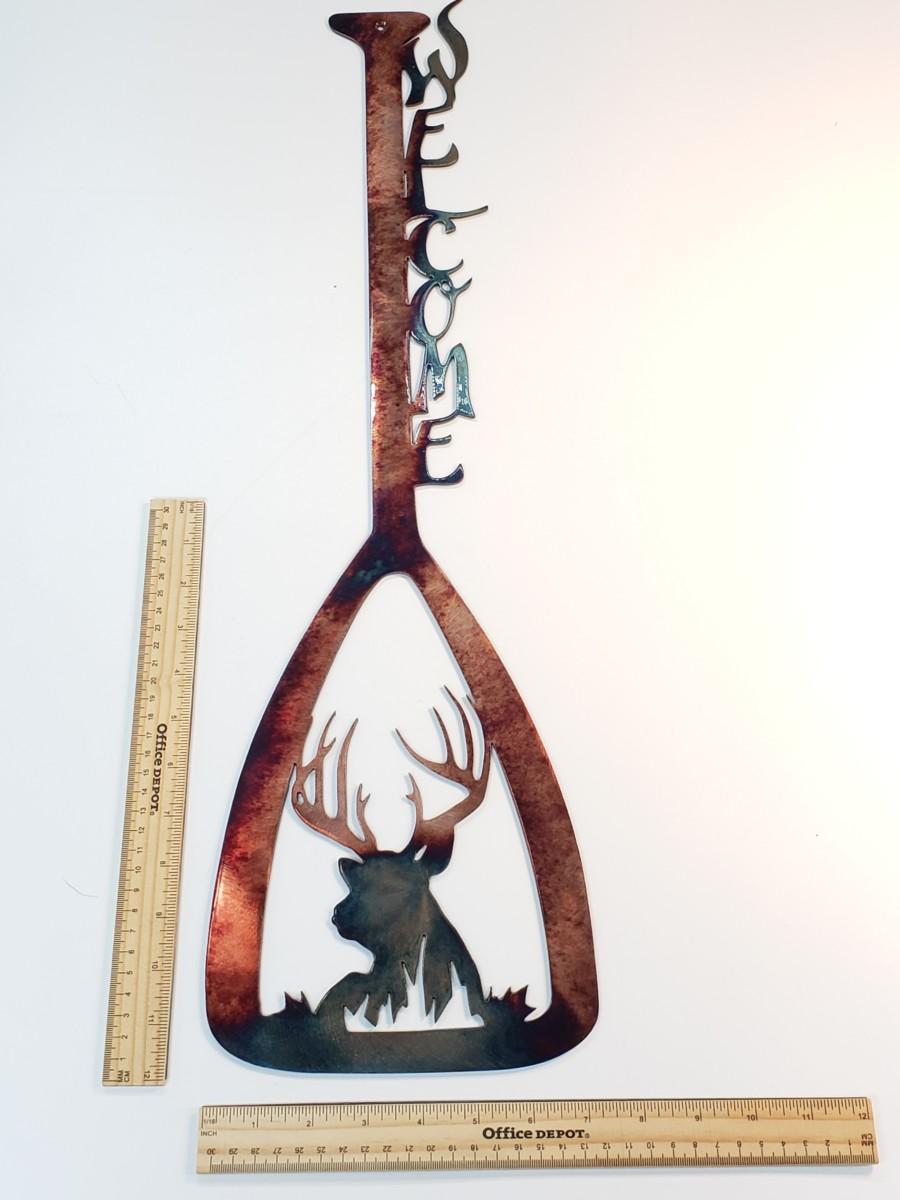 02 canoe paddle bedded buck Metal Wall Art Metal Dècor Studios