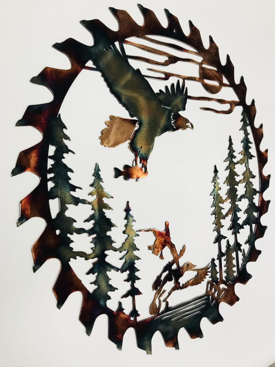 02 fishing eagle sawblade cut out Metal Wall Art Metal Dècor Studios