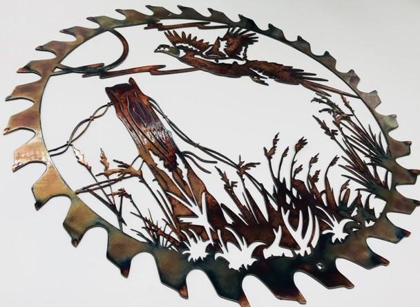02 flushed pheasant sawblade cut out Metal Wall Art Metal Dècor Studios