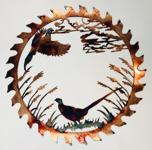 02 pheasant couple sawblade cut out Metal Wall Art Metal Dècor Studios 2