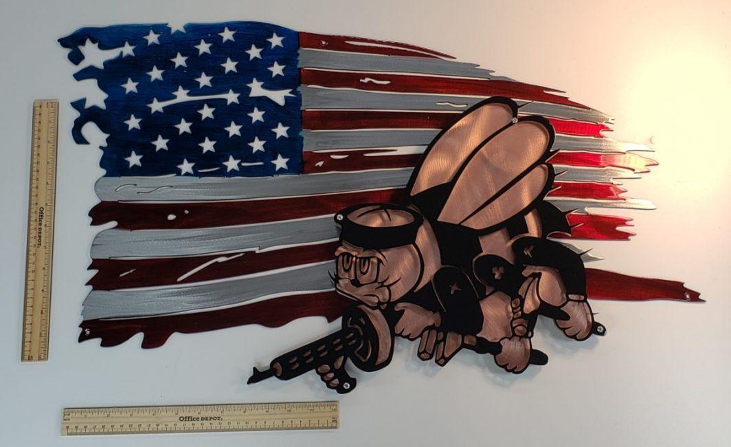 02 tattered flag seabees logo Metal Wall Art Metal Dècor Studios