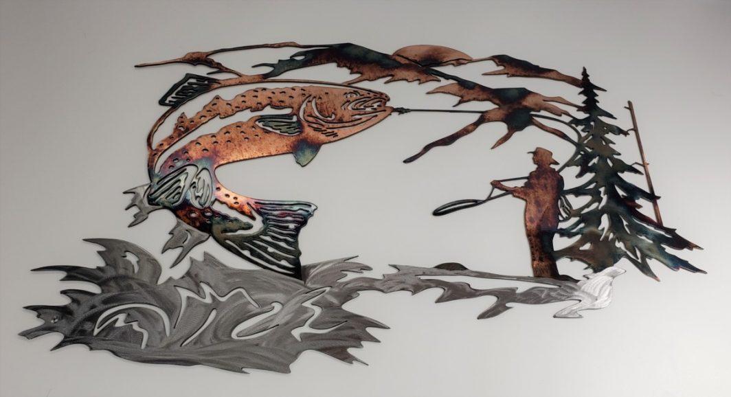 02 up at dawn trout fishing scene Metal Wall Art Metal Dècor Studios