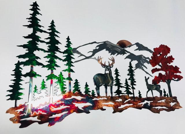 03 Whitetail mountain scene Metal Wall Art Metal Dècor Studios