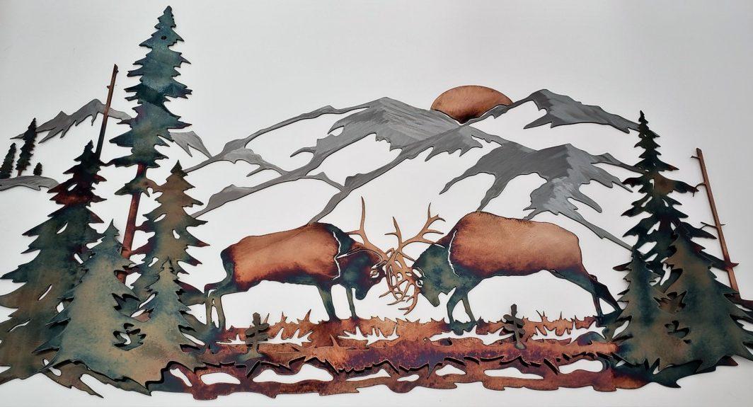 03Majestic Morning Elk Scene Wall ArtRustic Northwoods Men Gift Metal Dècor Studios 1