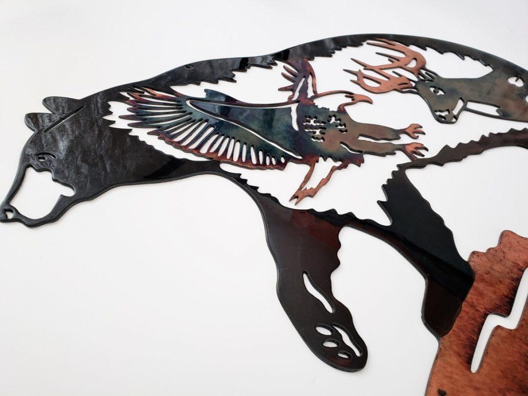 03 Bear Paw Rock SceneNorthwoods Wildlife Metal Wall Art Metal Dècor Studios
