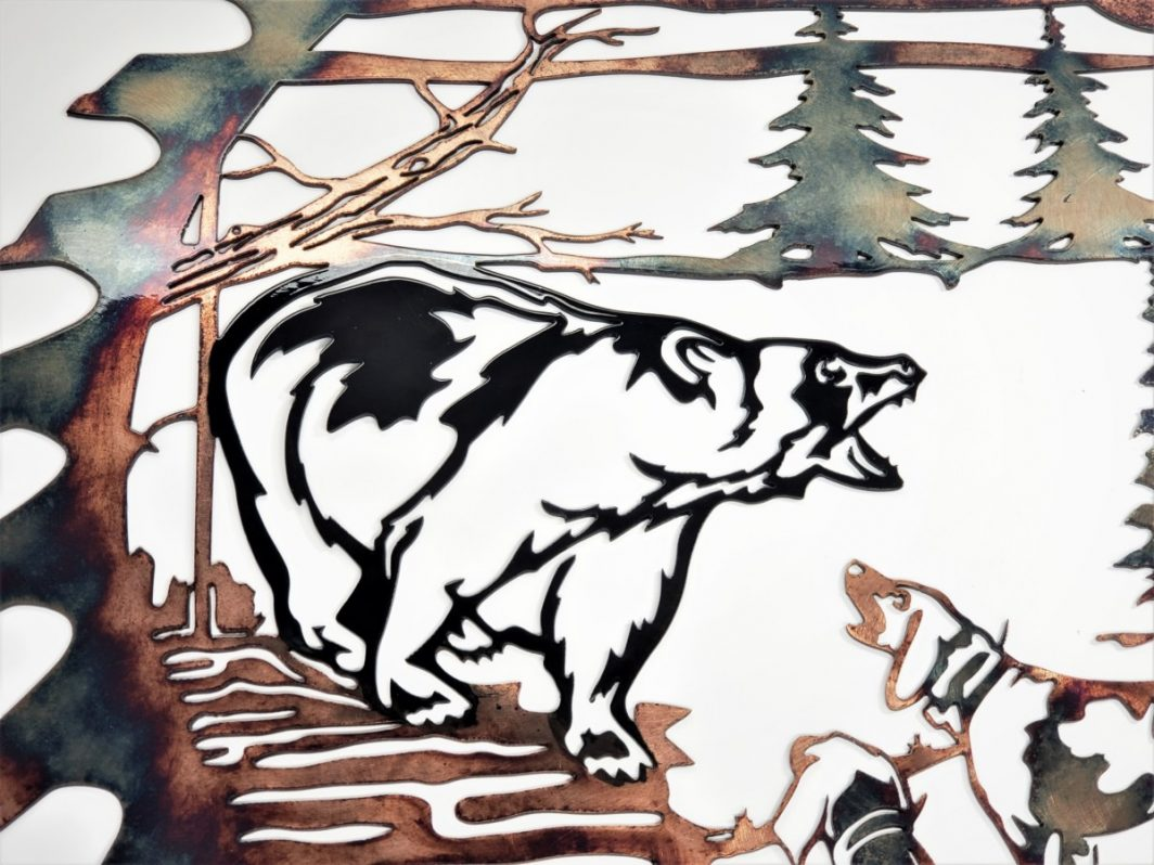 03 Bears Last Stand Sawblade Cutout Metal Wall Art Metal Dècor Studios
