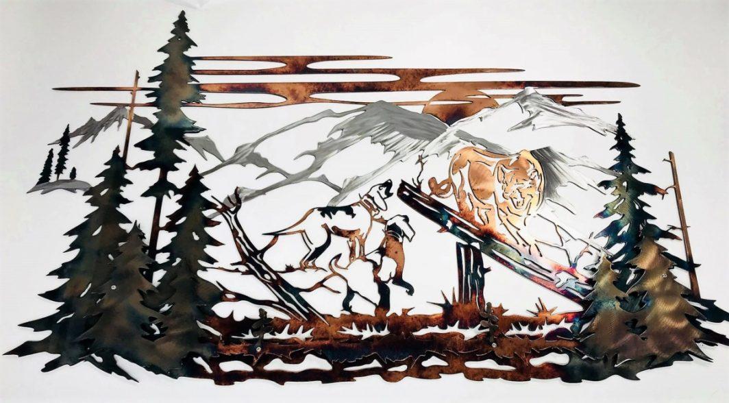 03 Mountain Lion Hunting Dog Wildlife Wall Art Metal Dècor Studios 1 300x259