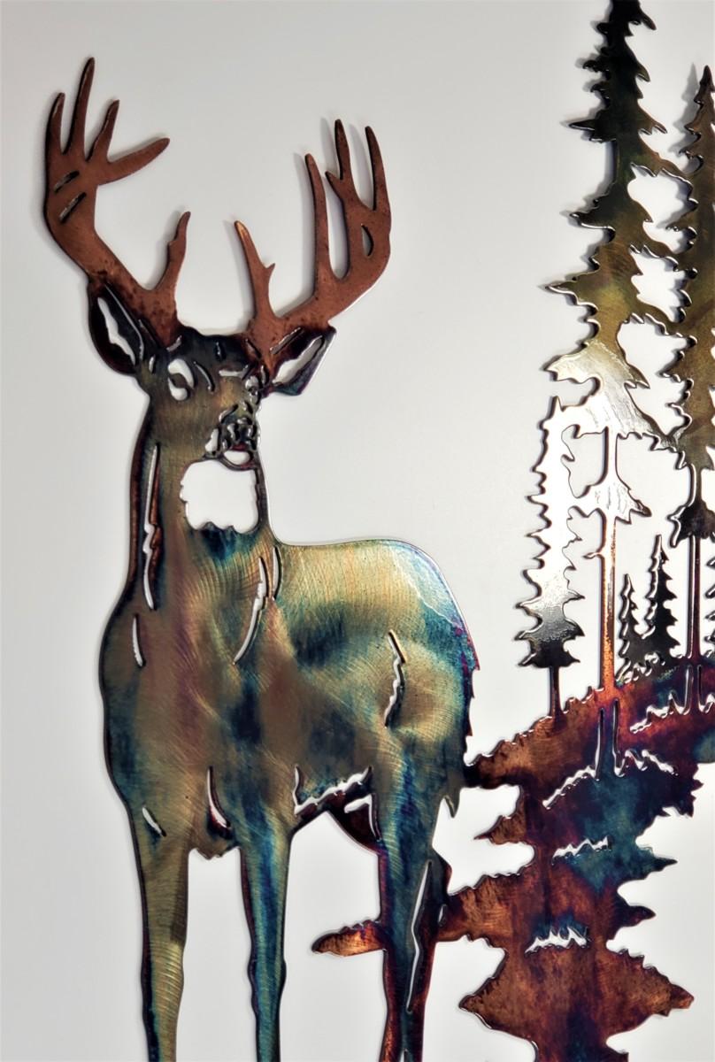 03 Pine Boss Whitetail Deer Metal Wall Art Metal Dècor Studios
