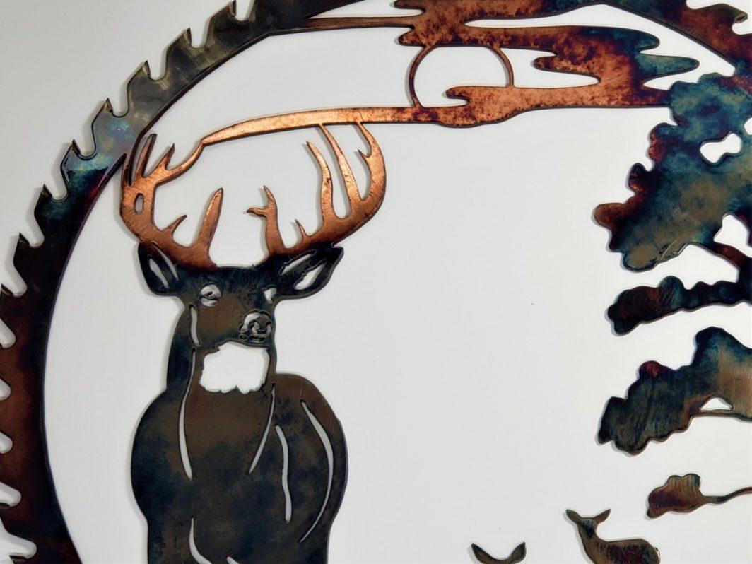 03 Sawblade Whitetail alert at Dusk Metal Wall Art Metal Dècor Studios