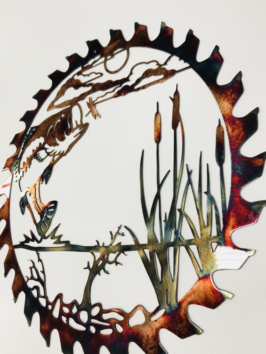 03 bass attack sawblade cut out Metal Wall Art Metal Dècor Studios