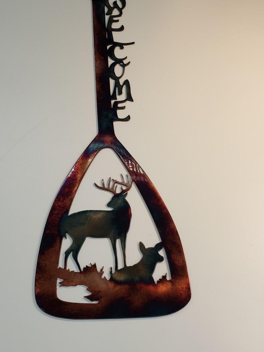 03 canoe paddle alert buck ducks Metal Wall Art Metal Dècor Studios