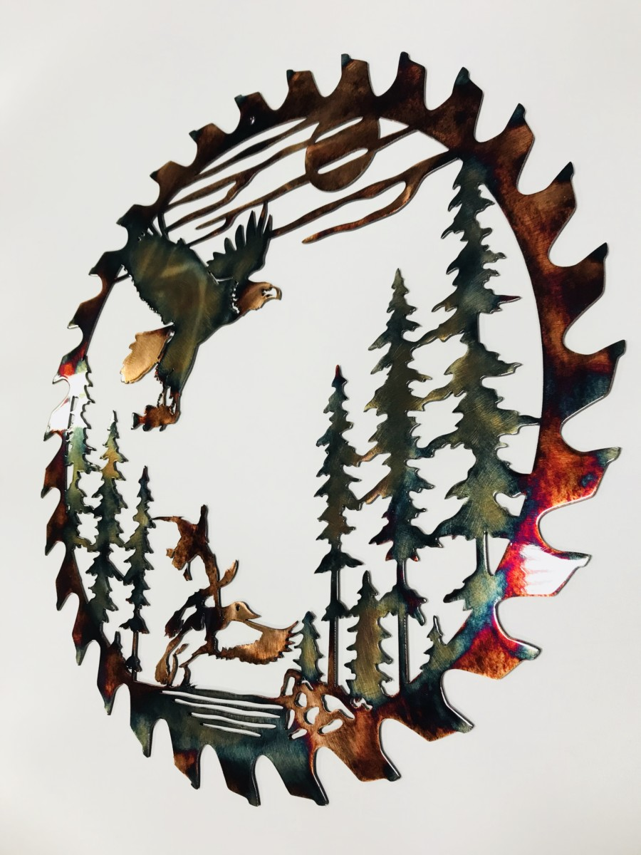 03 fishing eagle sawblade cut out Metal Wall Art Metal Dècor Studios