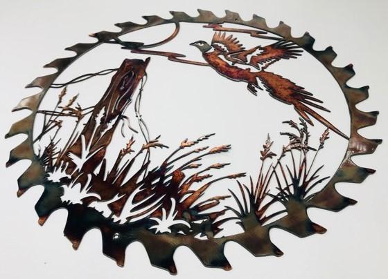 03 flushed pheasant sawblade cut out Metal Wall Art Metal Dècor Studios