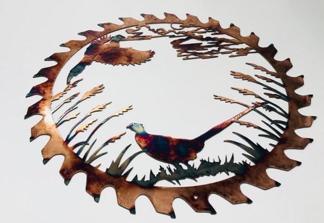03 pheasant couple sawblade cut out Metal Wall Art Metal Dècor Studios