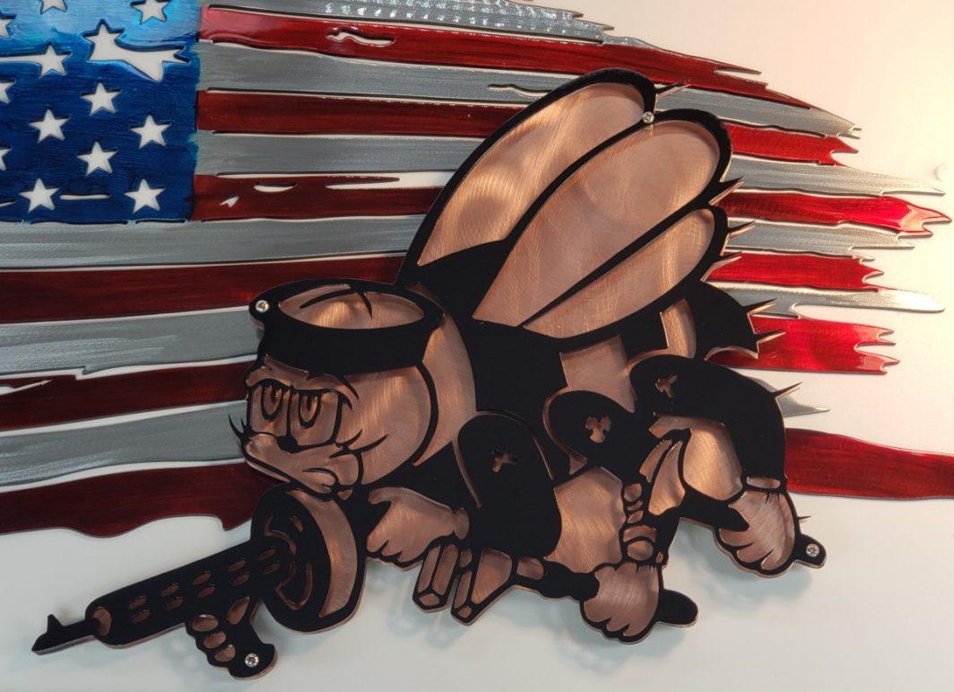 03 tattered flag seabees logo Metal Wall Art Metal Dècor Studios