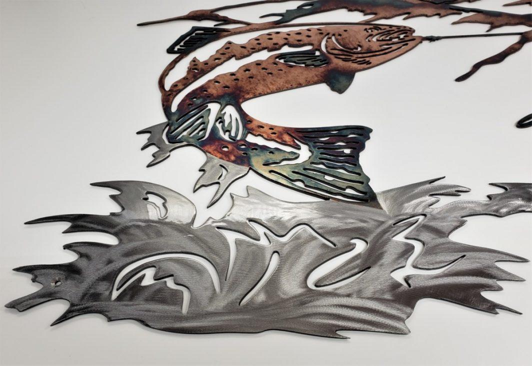 03 up at dawn trout fishing scene Metal Wall Art Metal Dècor Studios