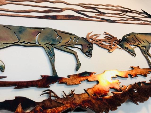 03 whitetail battle Metal Wall Art Metal Dècor Studios