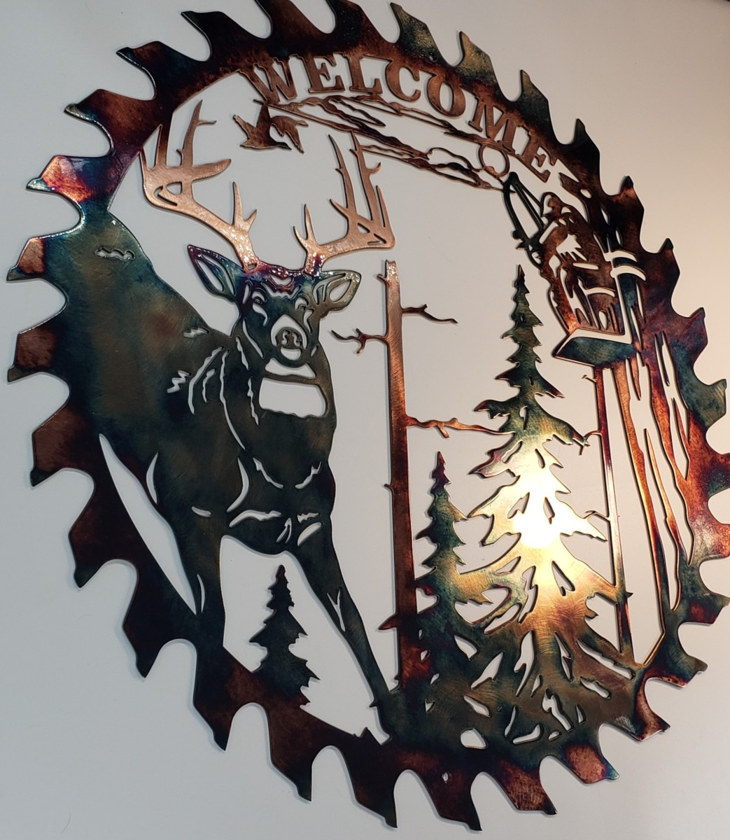 03 whitetail bowhunter sawblade cut out Metal Wall Art Metal Dècor Studios