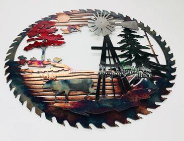 03 windmill sawblade whitetail Metal Wall Art Metal Dècor Studios