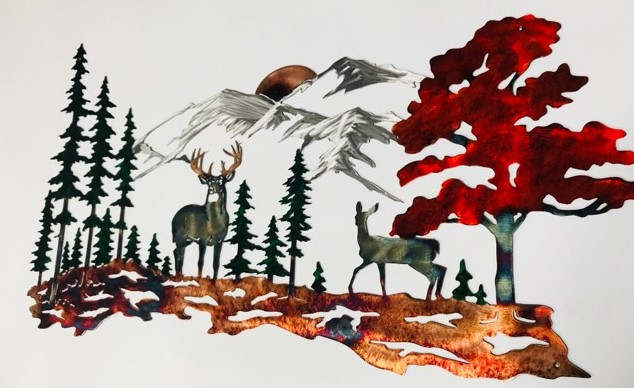 04 Whitetail mountain scene Metal Wall Art Metal Dècor Studios