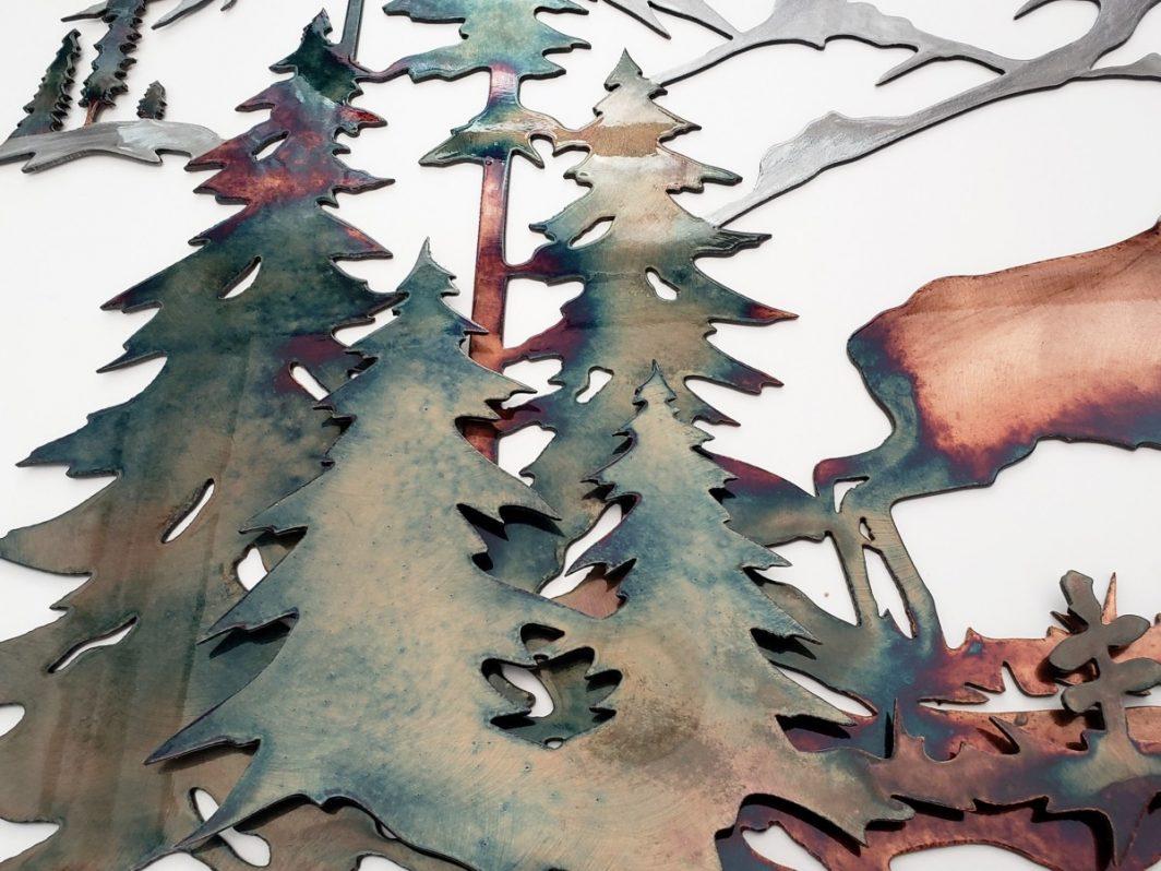 04Majestic Morning Elk Scene Wall ArtRustic Northwoods Men Gift Metal Dècor Studios 1