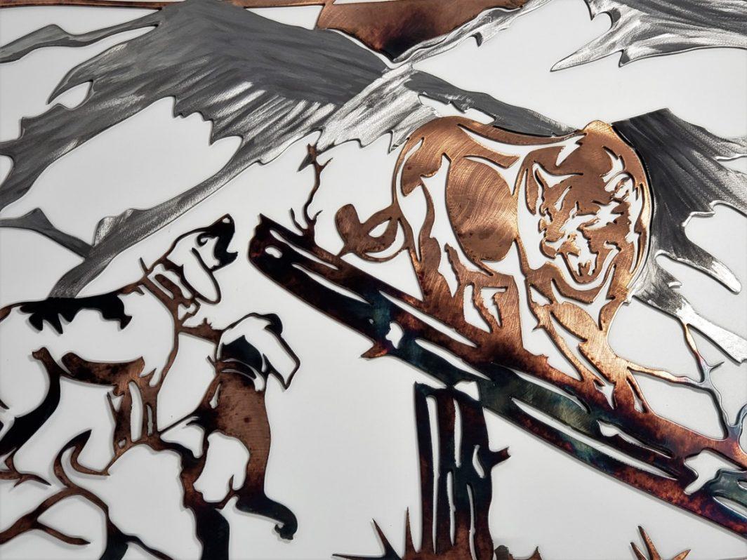 04 Mountain Lion Hunting Dog Wildlife Wall Art Metal Dècor Studios 1 300x259