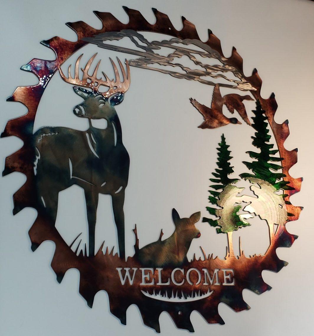 04 alert at dawn sawblade cutout Metal Wall Art Metal Dècor Studios