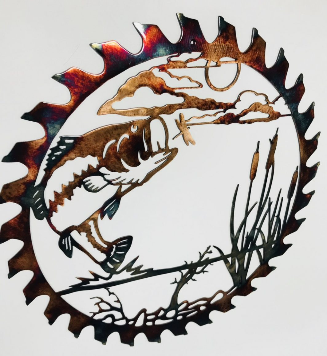 04 bass attack sawblade cut out Metal Wall Art Metal Dècor Studios