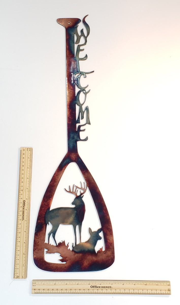 04 canoe paddle alert buck ducks Metal Wall Art Metal Dècor Studios